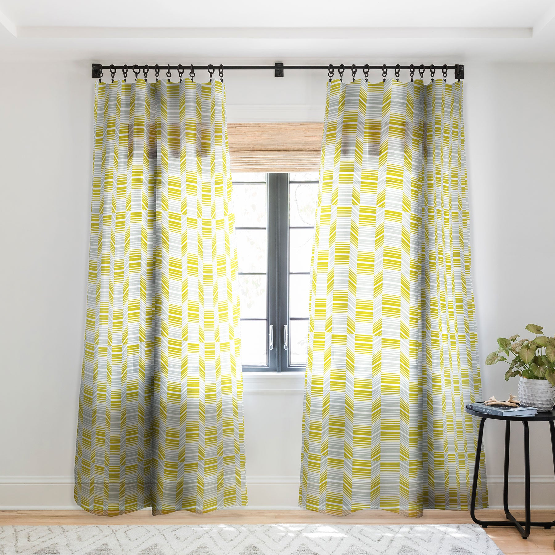 Heather Dutton Delineate Citron Sheer Window Curtain