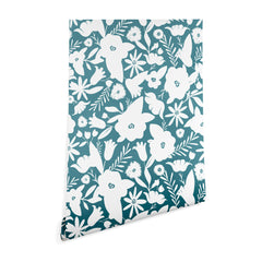 Heather Dutton Finley Floral Teal Wallpaper