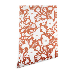 Heather Dutton Finley Floral Terra Cotta Wallpaper
