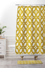 Heather Dutton Starbust Gold Shower Curtain And Mat