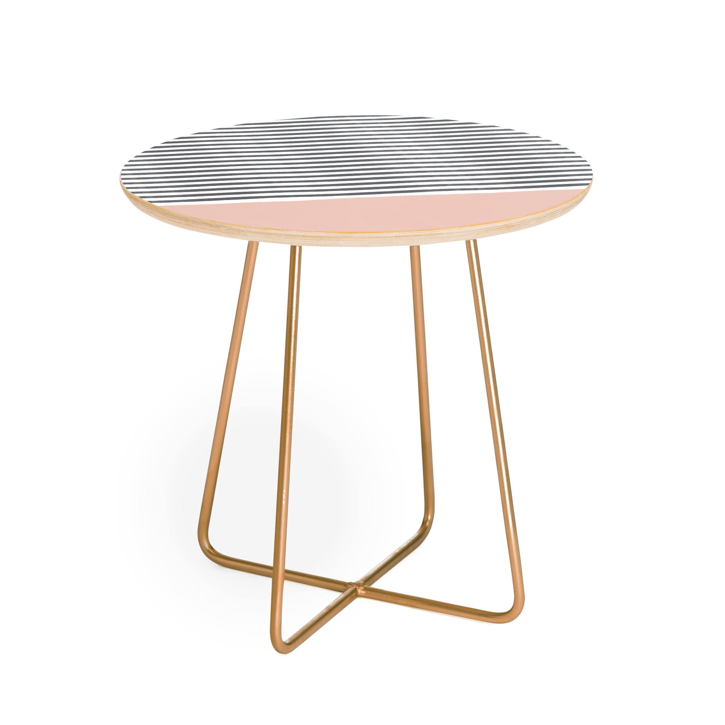 Hello Twiggs Watercolor Stripes Blush Round Side Table