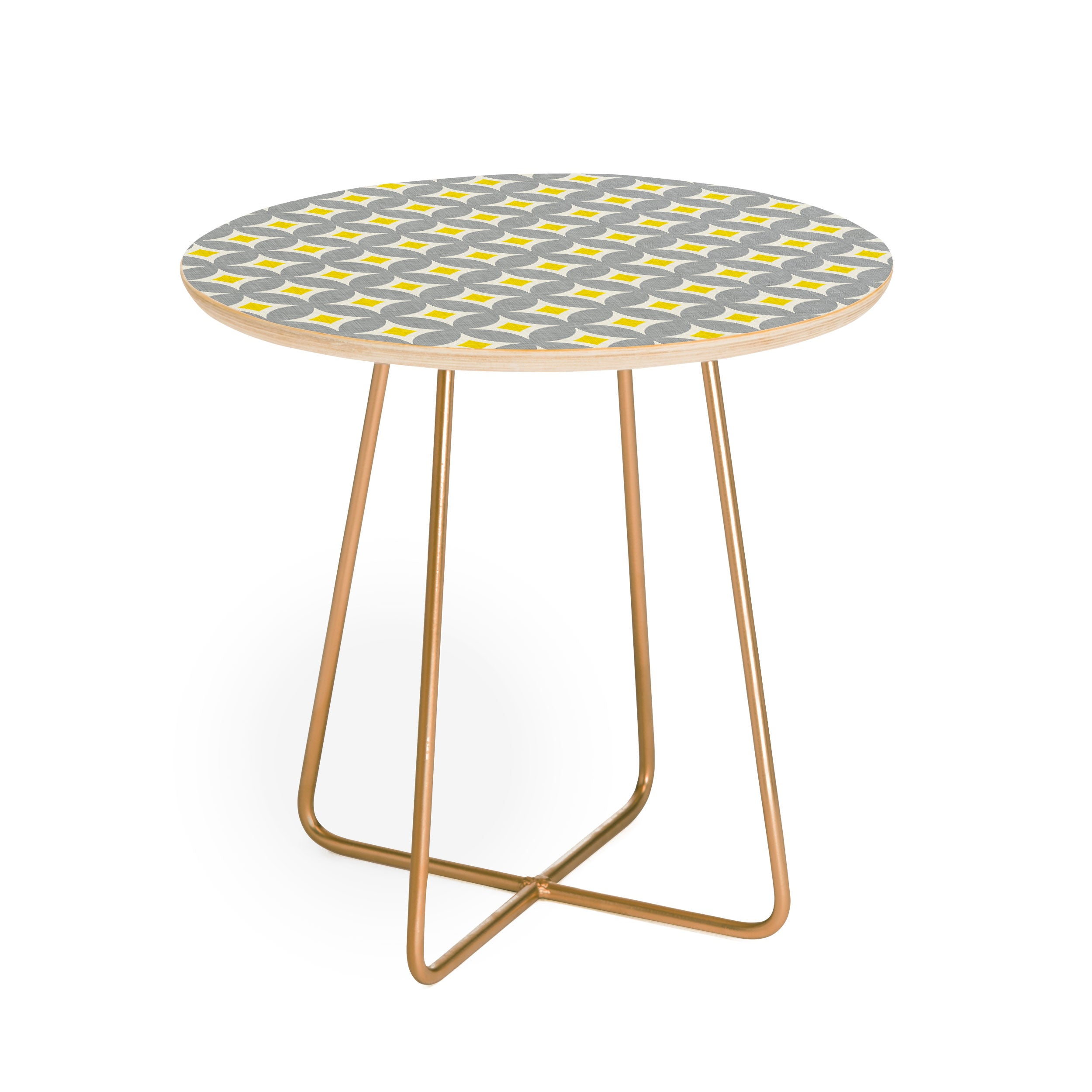 Holli Zollinger Diamond Circles Yellow Round Side Table