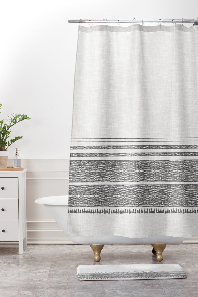 French Linen Charcoal Tassel Shower Curtain And Mat Holli Zollinger