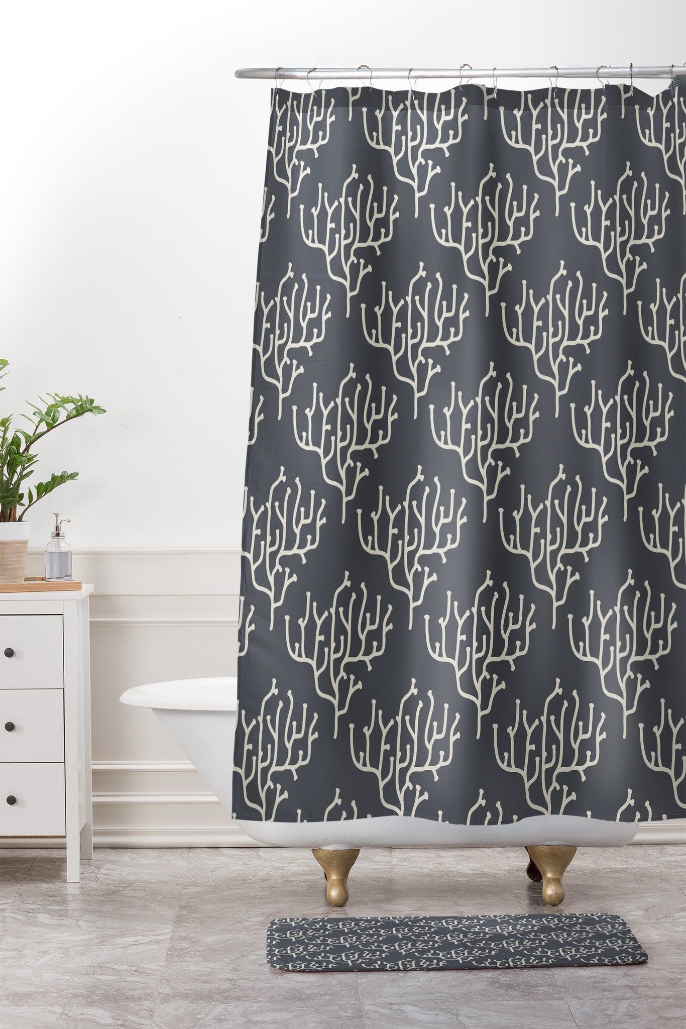 Holli Zollinger Grey Coral Shower Curtain And Mat