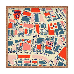 Holli Zollinger Paris Map Blue Square Tray