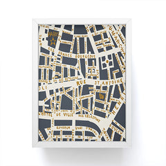 Holli Zollinger PARIS MAP GREY GOLD Framed Mini Art Print