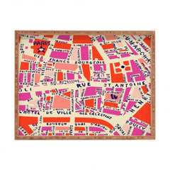 Holli Zollinger Paris Map Pink Rectangular Tray