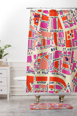 Holli Zollinger Paris Map Pink Shower Curtain And Mat