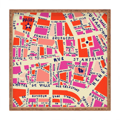 Holli Zollinger Paris Map Pink Square Tray