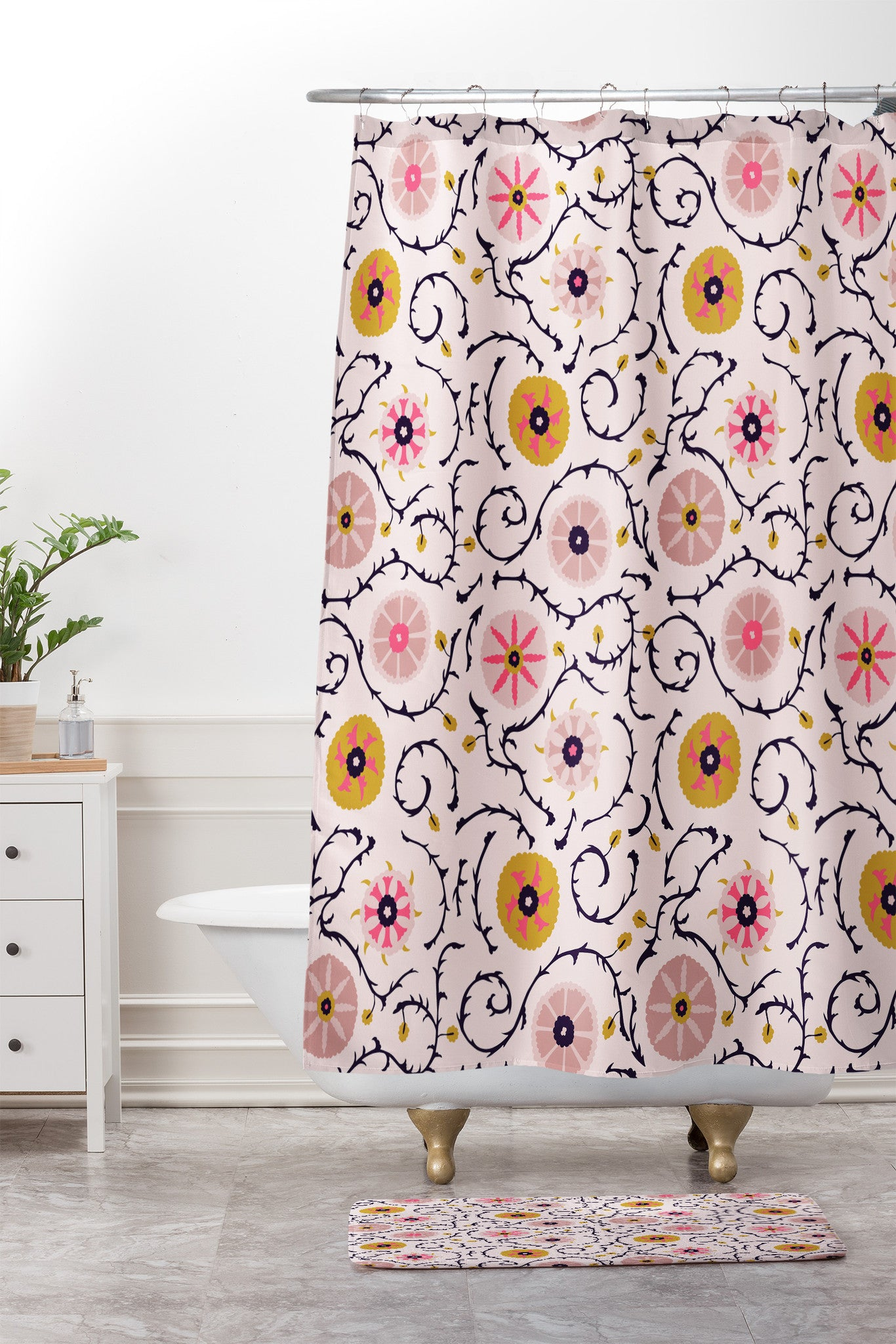 Suzani Pink Shower Curtain And Mat Holli Zollinger