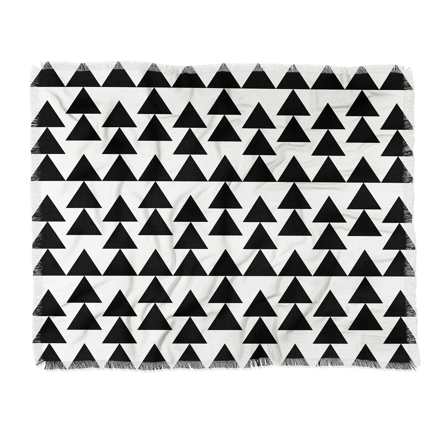 Holli Zollinger Triangles Black Throw Blanket