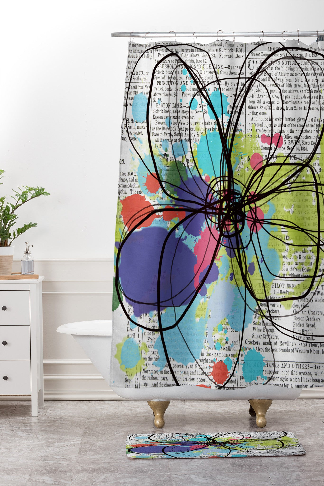 Irena Orlov Flower On Old Newspaper Shower Curtain And Mat