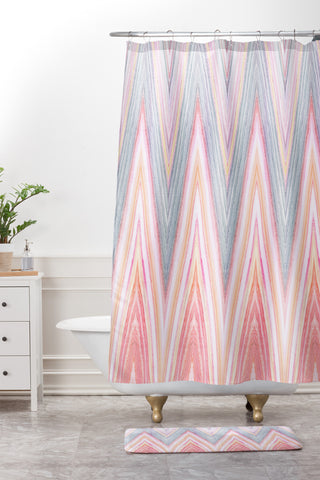 Iveta Abolina Agate Chevron Shower Curtain And Mat