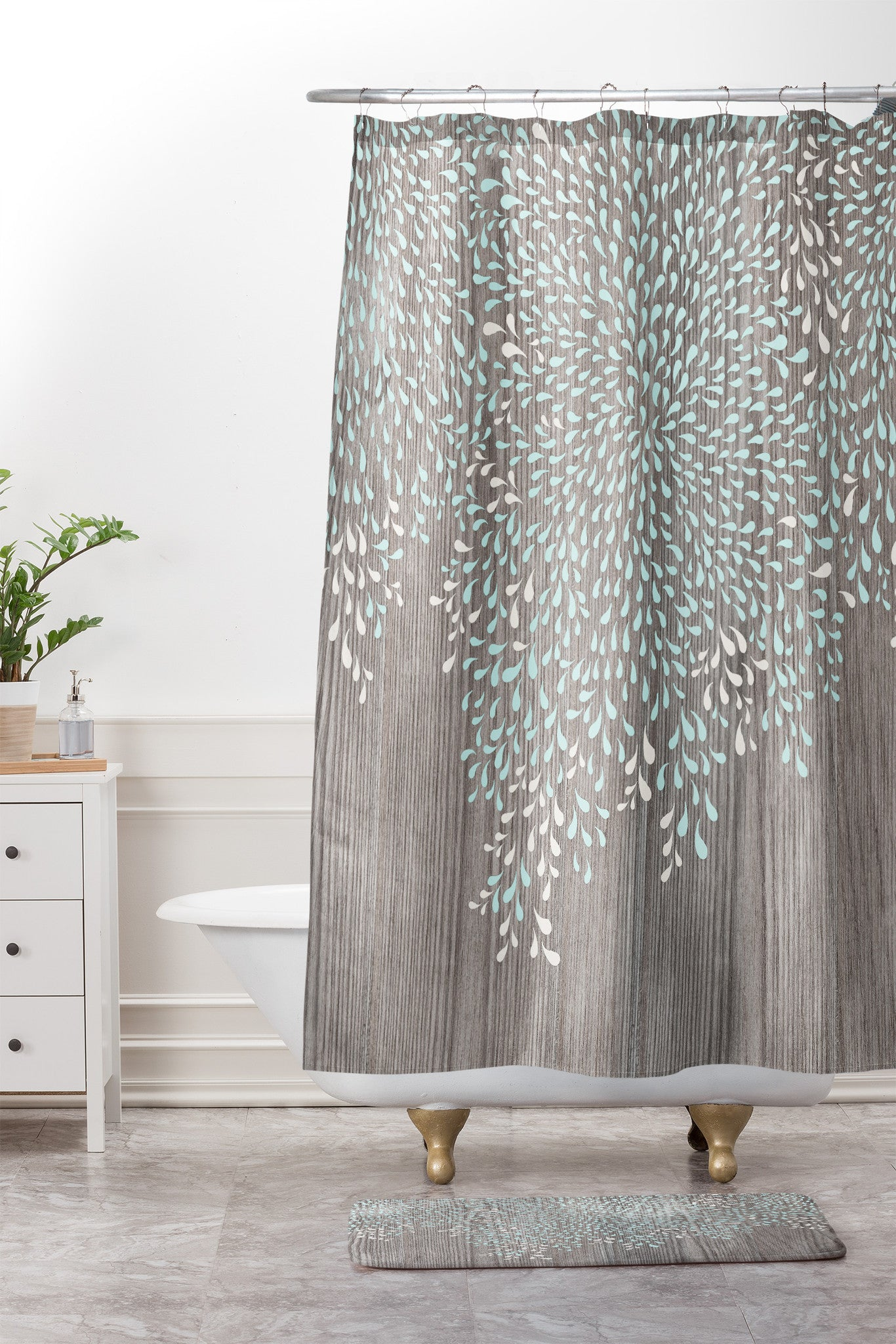 Coastal Raindrops Shower Curtain And Mat By Iveta Abolina