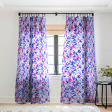 Jacqueline Maldonado Birds n Flowers Blue Sheer Window Curtain