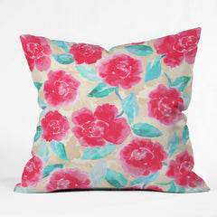 Jacqueline Maldonado Cottage Peonies Pink Outdoor Throw Pillow