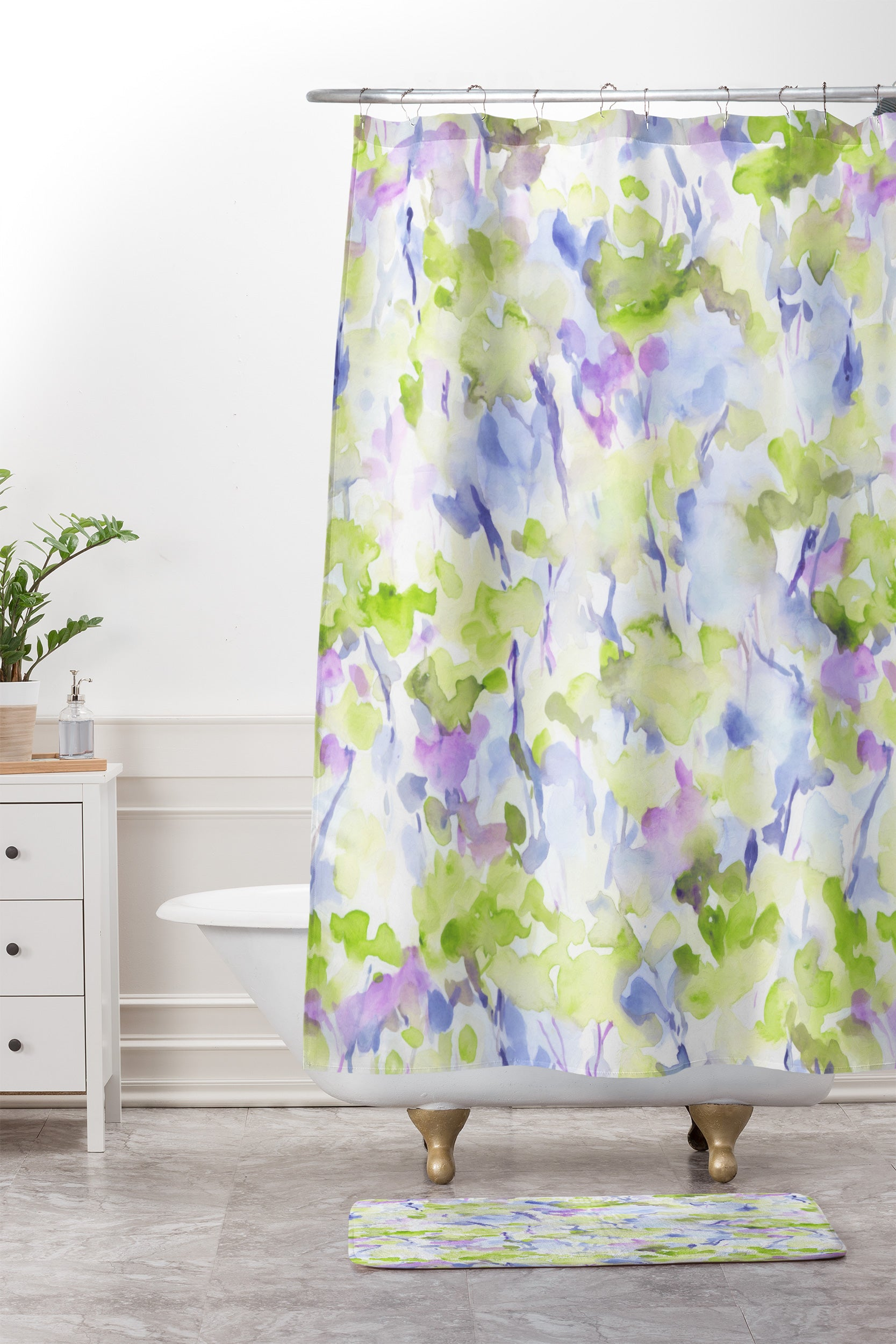 Divine Feminine Green Shower Curtain And Mat Jacqueline Maldonado