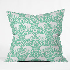 Jacqueline Maldonado Elephant Damask Hemlock Outdoor Throw Pillow