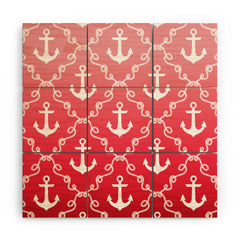 Jacqueline Maldonado Nautical Knots Ombre Red Wood Wall Mural