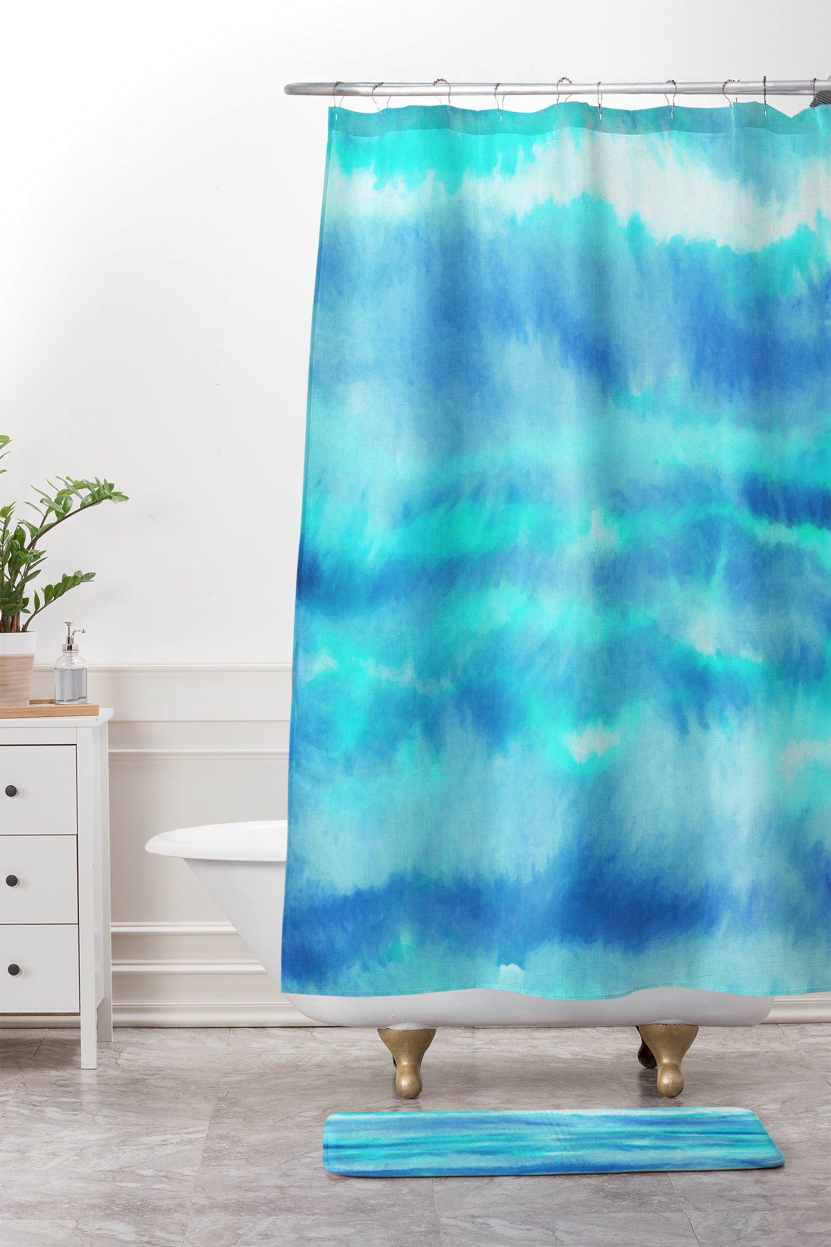 Jacqueline Maldonado Ombre Waves Blue Green Shower Curtain And Mat