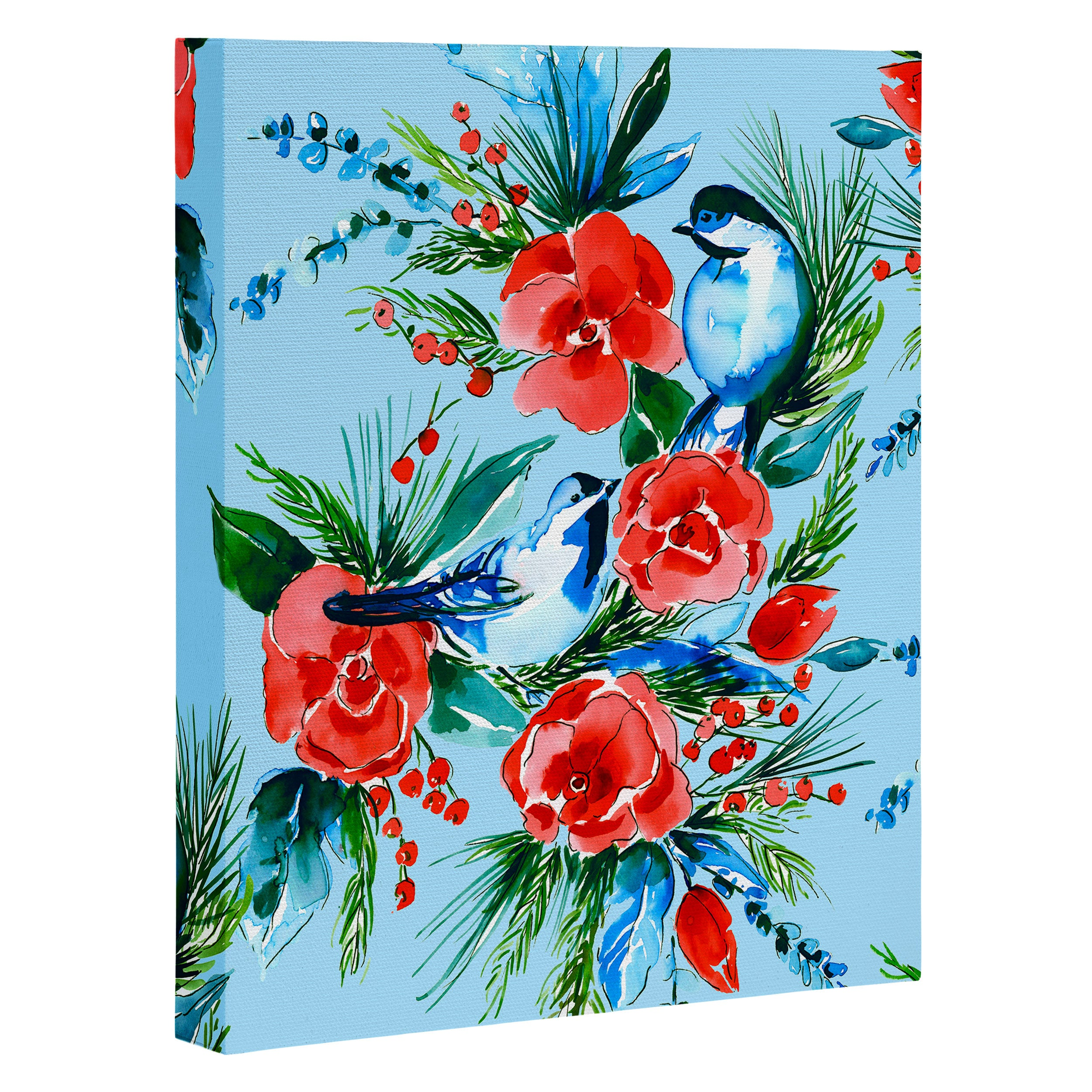 Jacqueline Maldonado Winter Birds Light Blue Art Canvas
