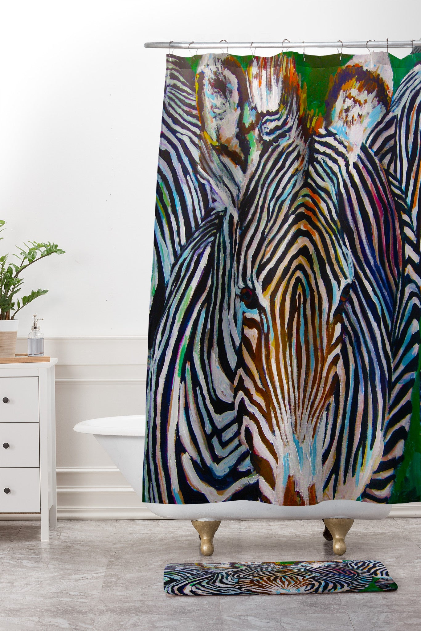 Jenny Grumbles Study In Stripes Shower Curtain And Mat