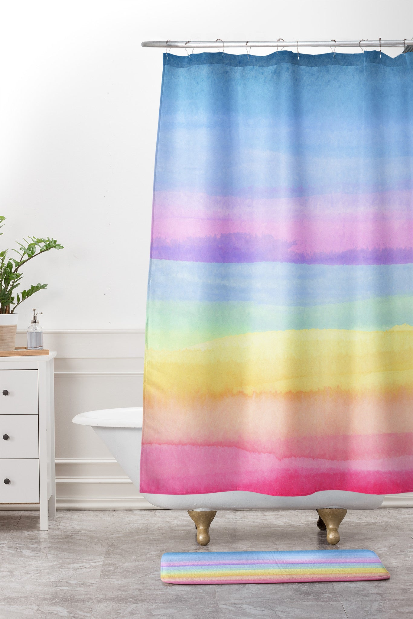 Joy Laforme Rainbow Ombre Shower Curtain And Mat