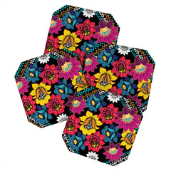 Juliana Curi Black Flower Coaster Set