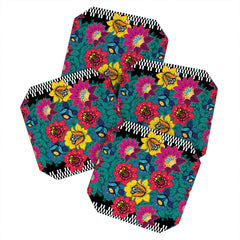 Juliana Curi Black Graphic Flower Coaster Set
