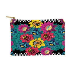 Juliana Curi Black Graphic Flower Pouch