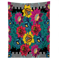 Juliana Curi Black Graphic Flower Tapestry