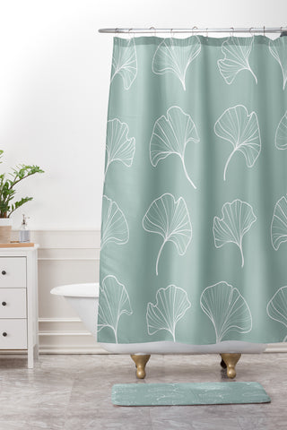 Kelly Haines Teal Ginkgo Leaves Shower Curtain And Mat