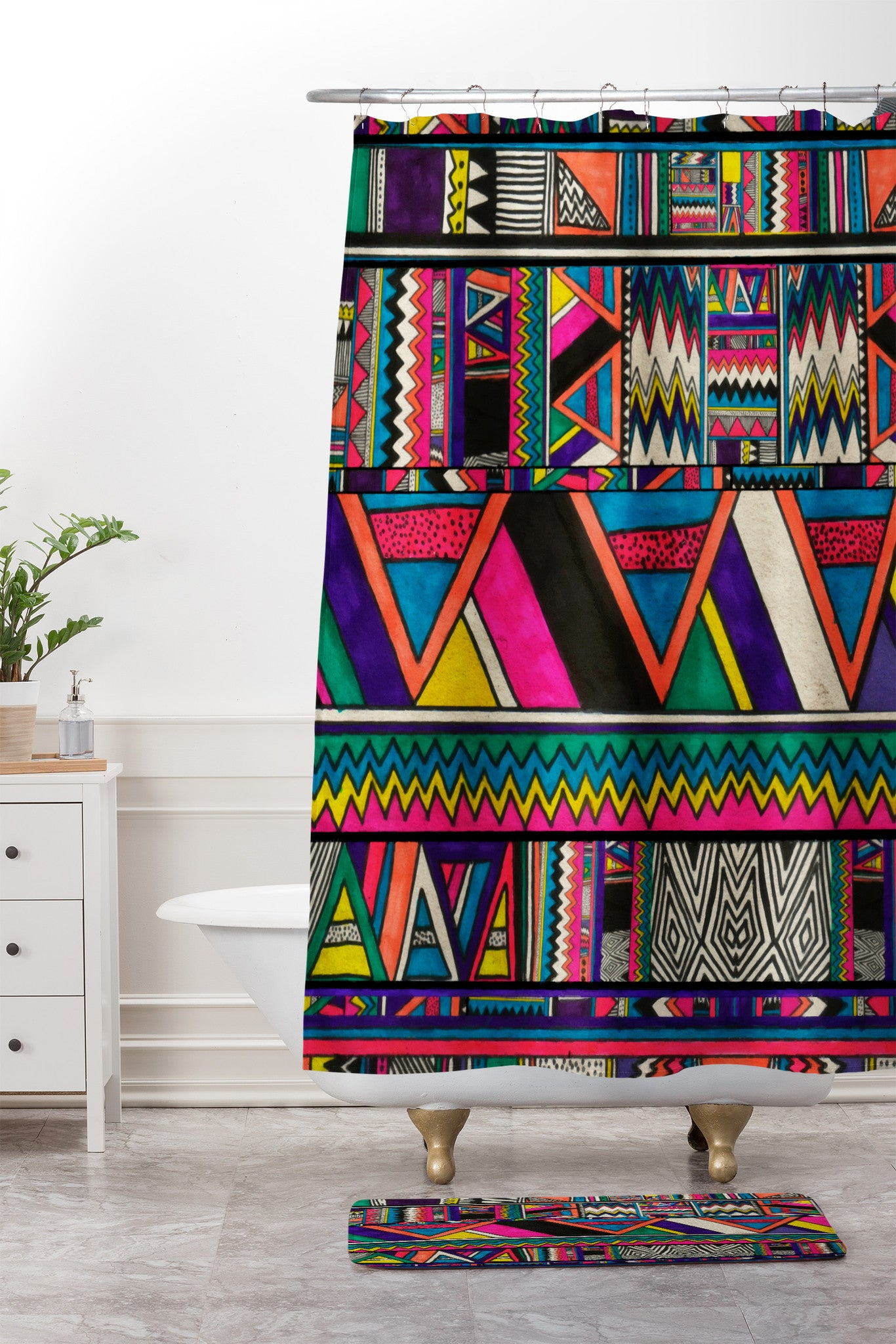 kris tate aztec colors shower curtain and mat - Colorful Shower Curtains