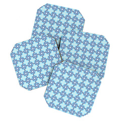 Lara Kulpa Blue Diamond Flower Coaster Set
