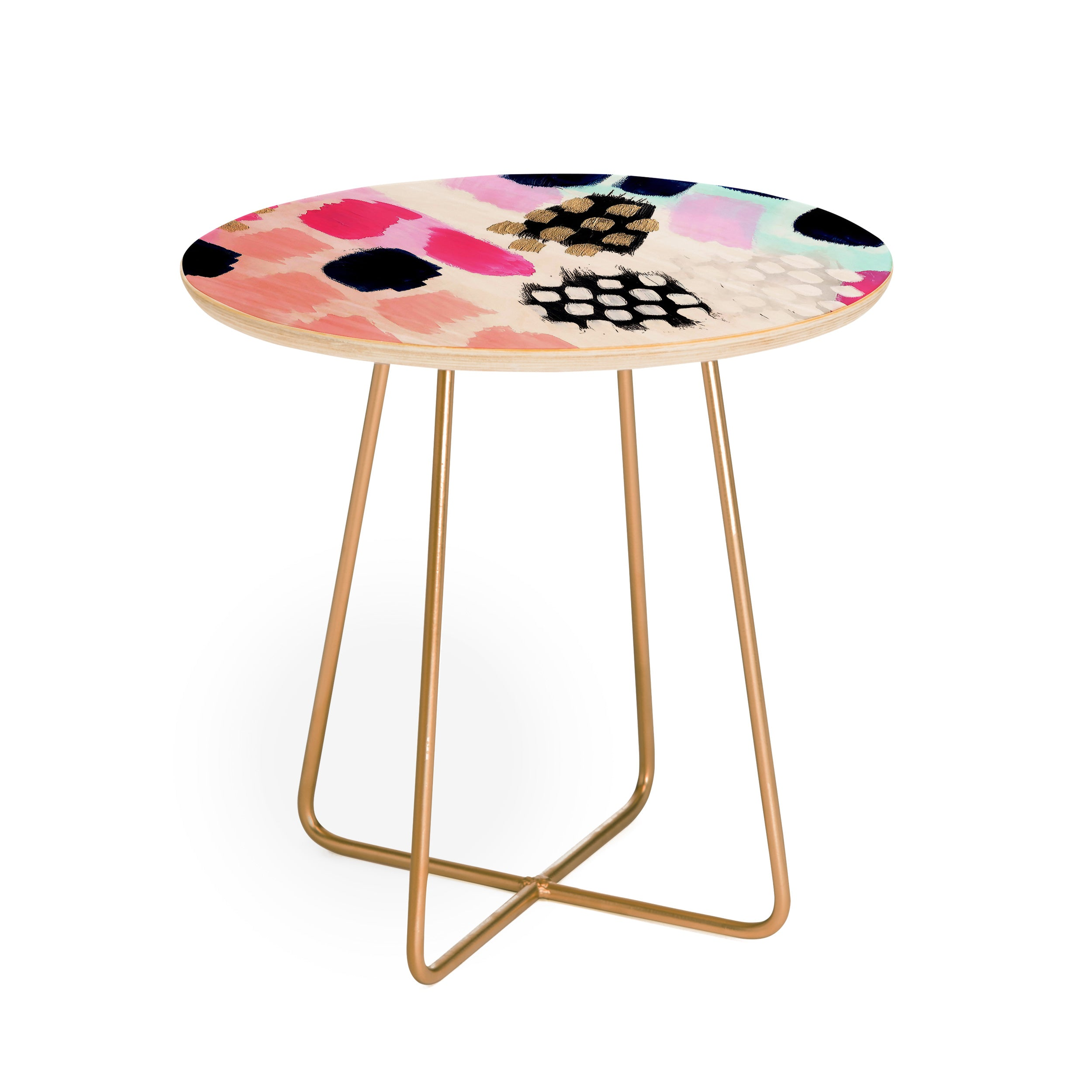 Laura Fedorowicz Hot Pink Abstract Round Side Table