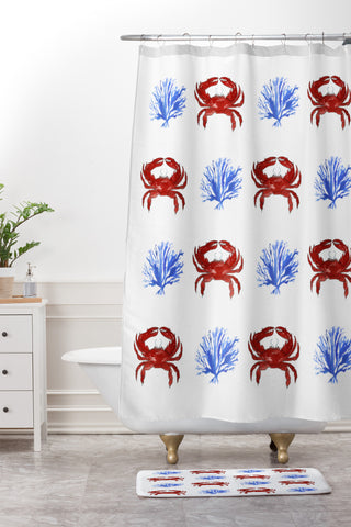JEmail Us About This Product DENY Laura Trevey Red White And Blue Shower Curtain Mat 15400