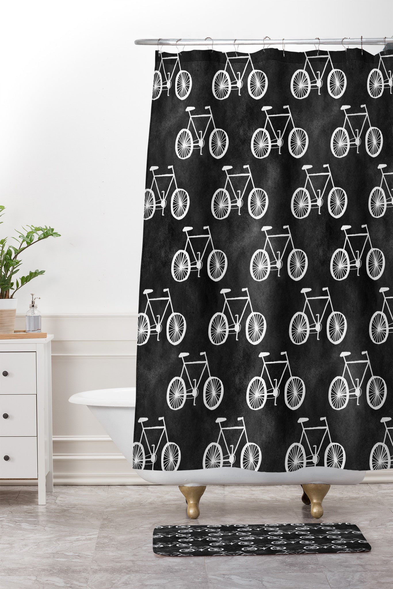 Leah Flores Bicycle Shower Curtain And Mat