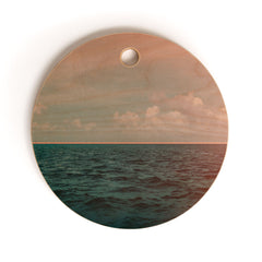Leah Flores Turquoise Ocean Peach Sunset Cutting Board Round