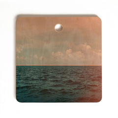 Leah Flores Turquoise Ocean Peach Sunset Cutting Board Square