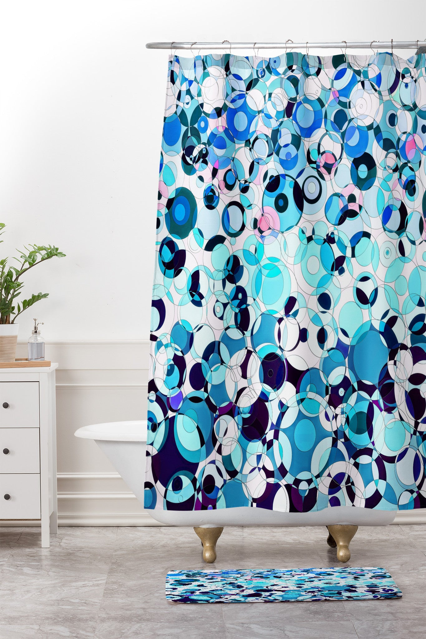 Lisa Argyropoulos Aria In Aquatic Shower Curtain And Mat