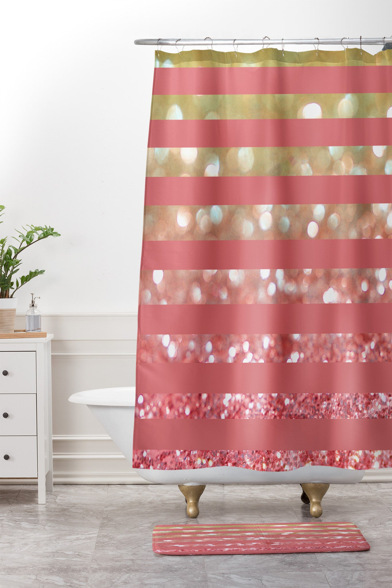Champagne Tango Stripes Shower Curtain And Mat Lisa Argyropoulos