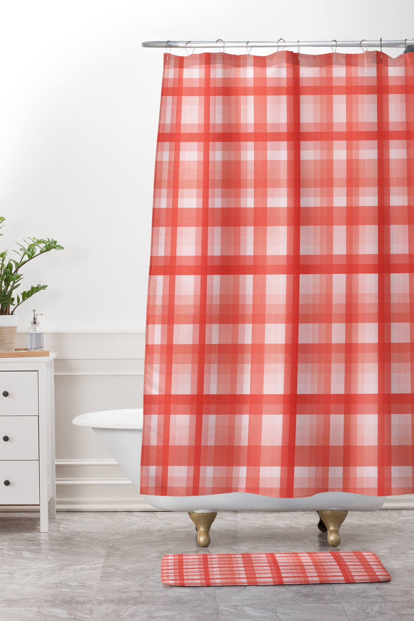 Lisa Argyropoulos Country Plaid Vintage Red Shower Curtain And Mat