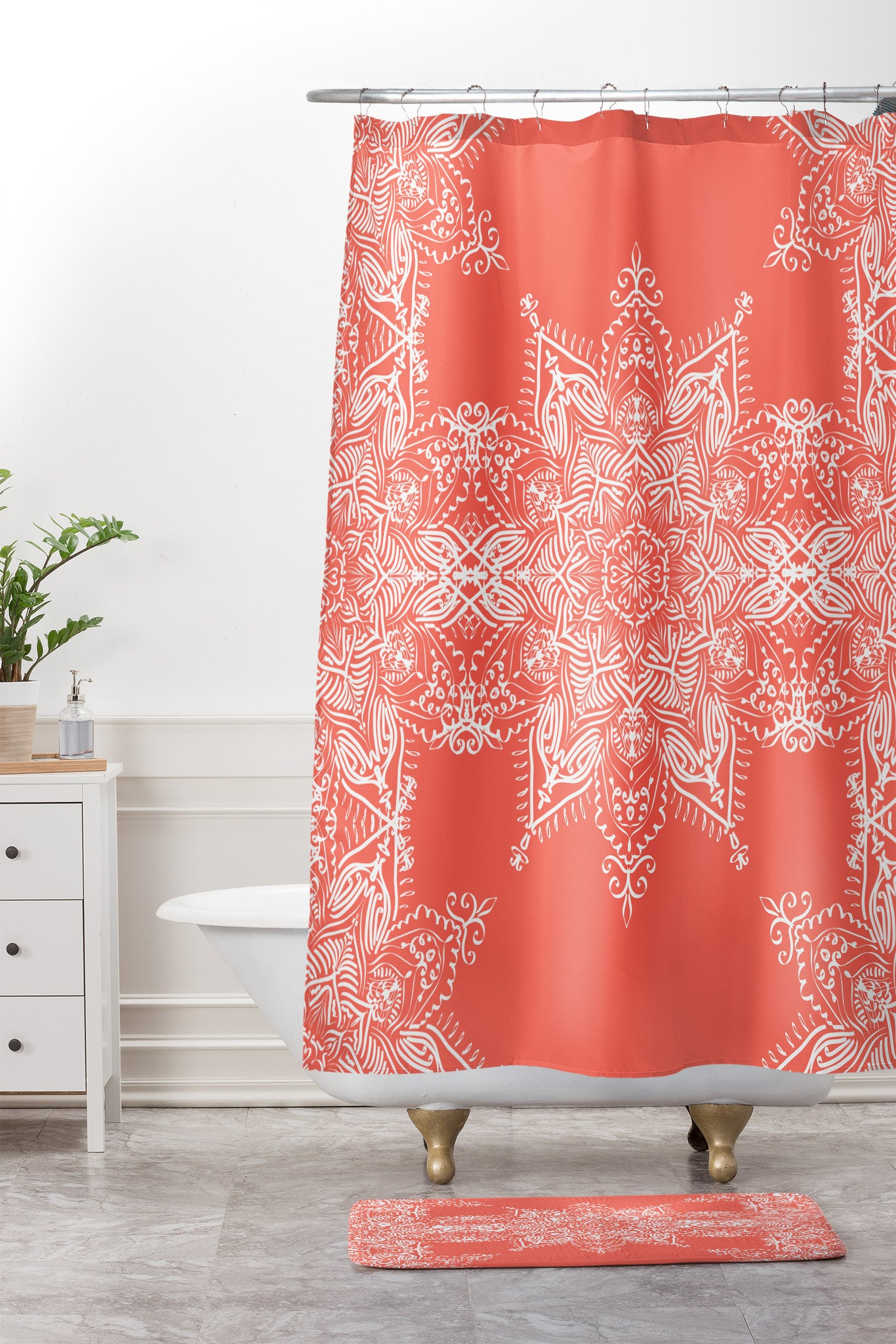 Lisa Argyropoulos Enchanted Soul Coral Shower Curtain And Mat