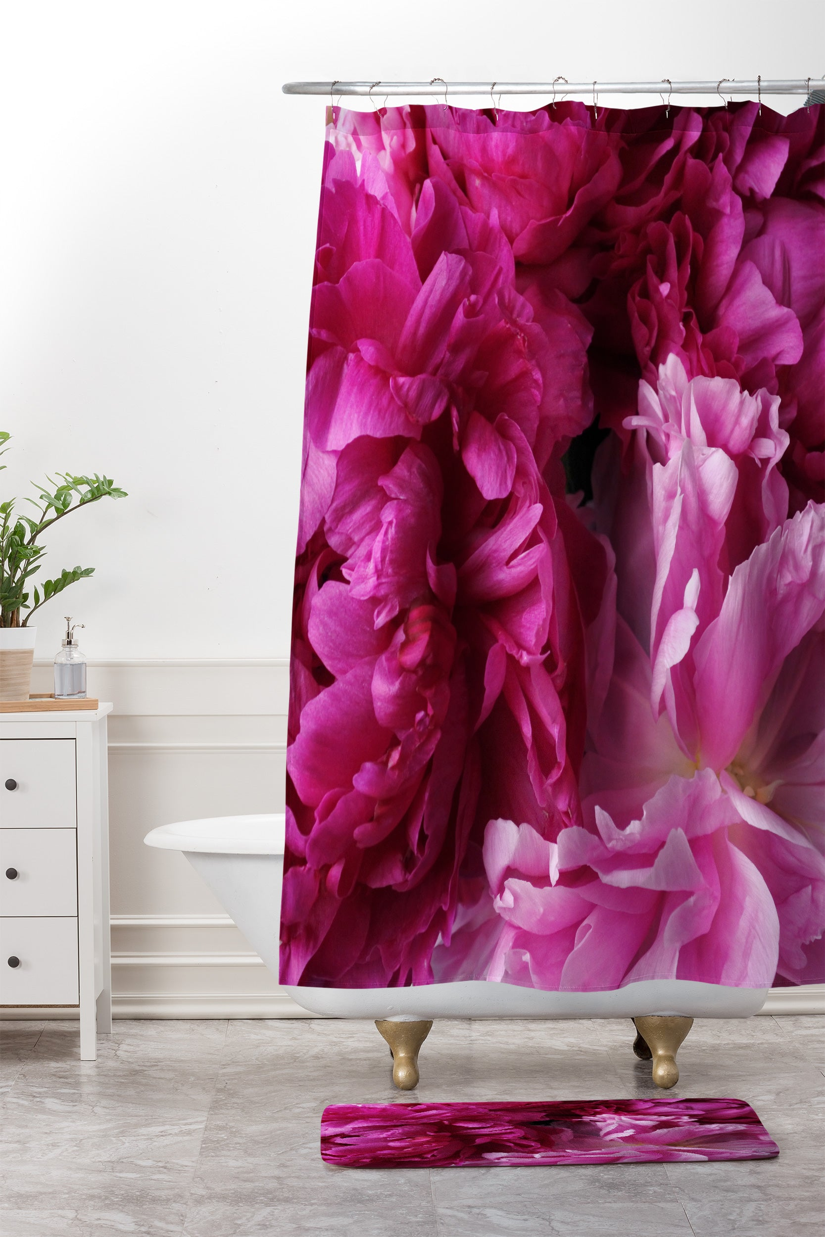 Glamour Pink Peonies Shower Curtain And Mat By Lisa Argyropoulos