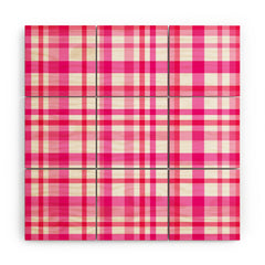 Lisa Argyropoulos Glamour Pink Plaid Wood Wall Mural