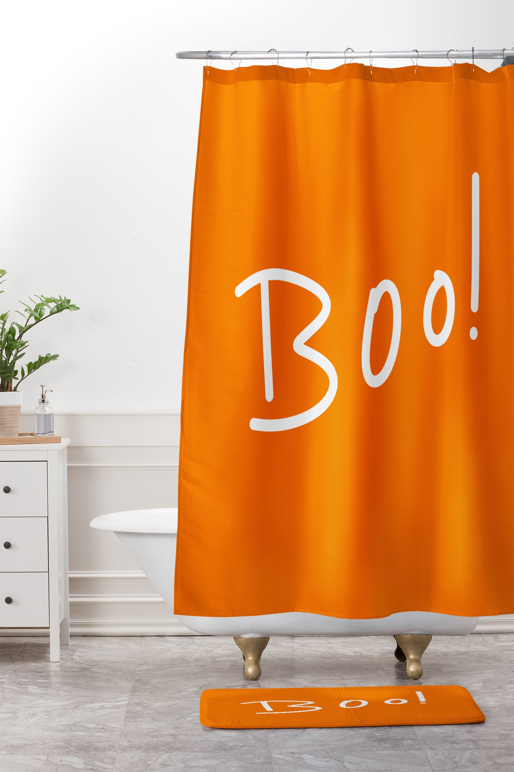 Lisa Argyropoulos Halloween Boo Orange Shower Curtain And Mat