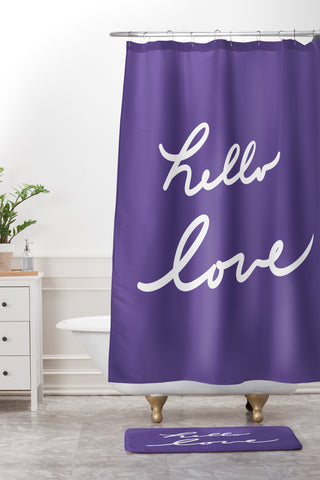 Hello Love Violet Shower Curtain And Mat Lisa Argyropoulos