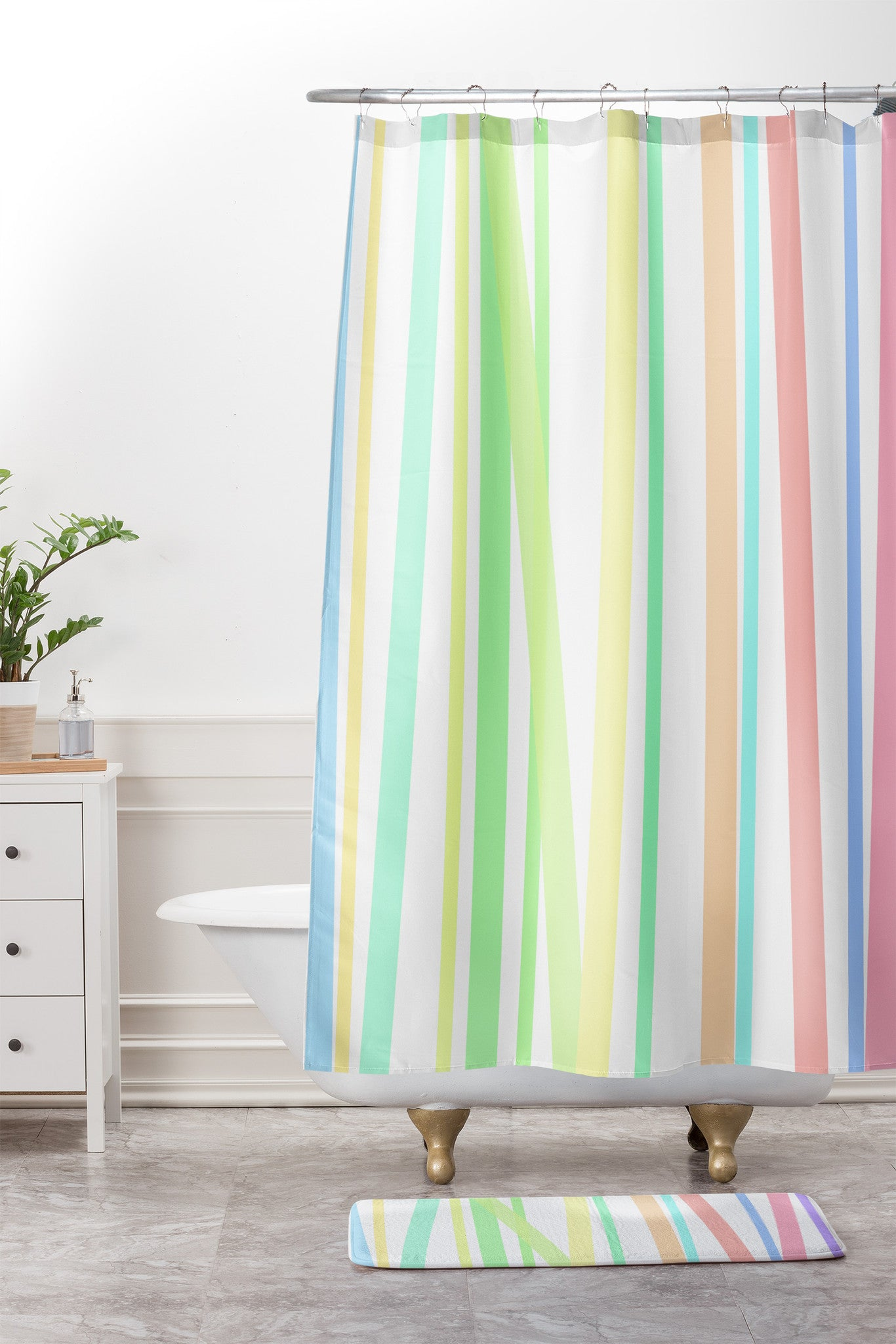 Pastel Rainbow Stripes Shower Curtain And Mat Lisa Argyropoulos