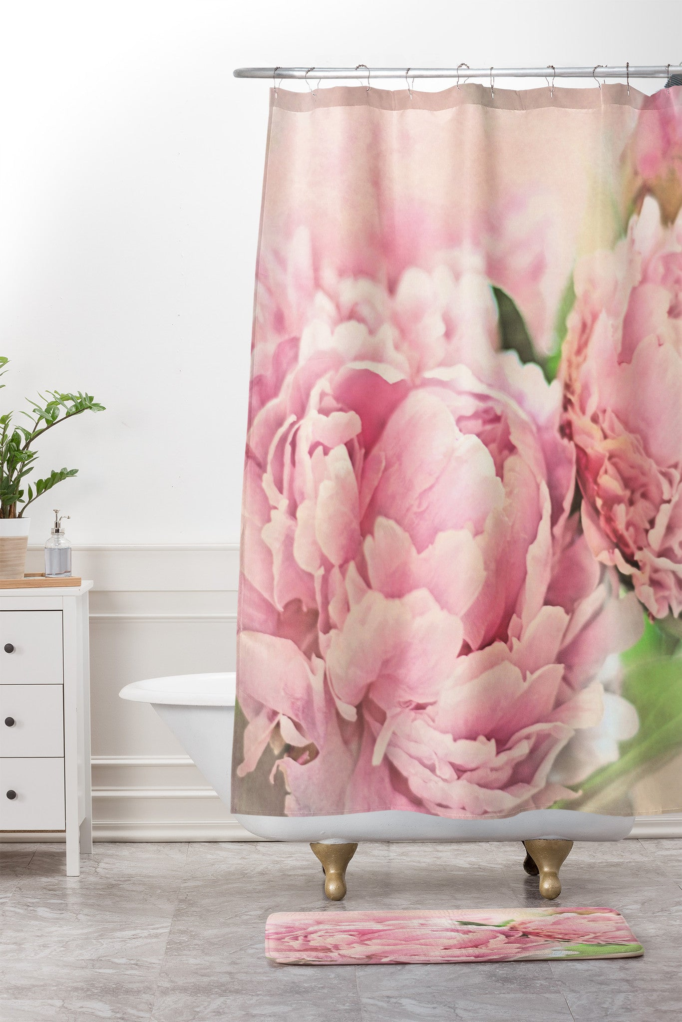 Pink Peonies Shower Curtain And Mat By Lisa Argyropoulos