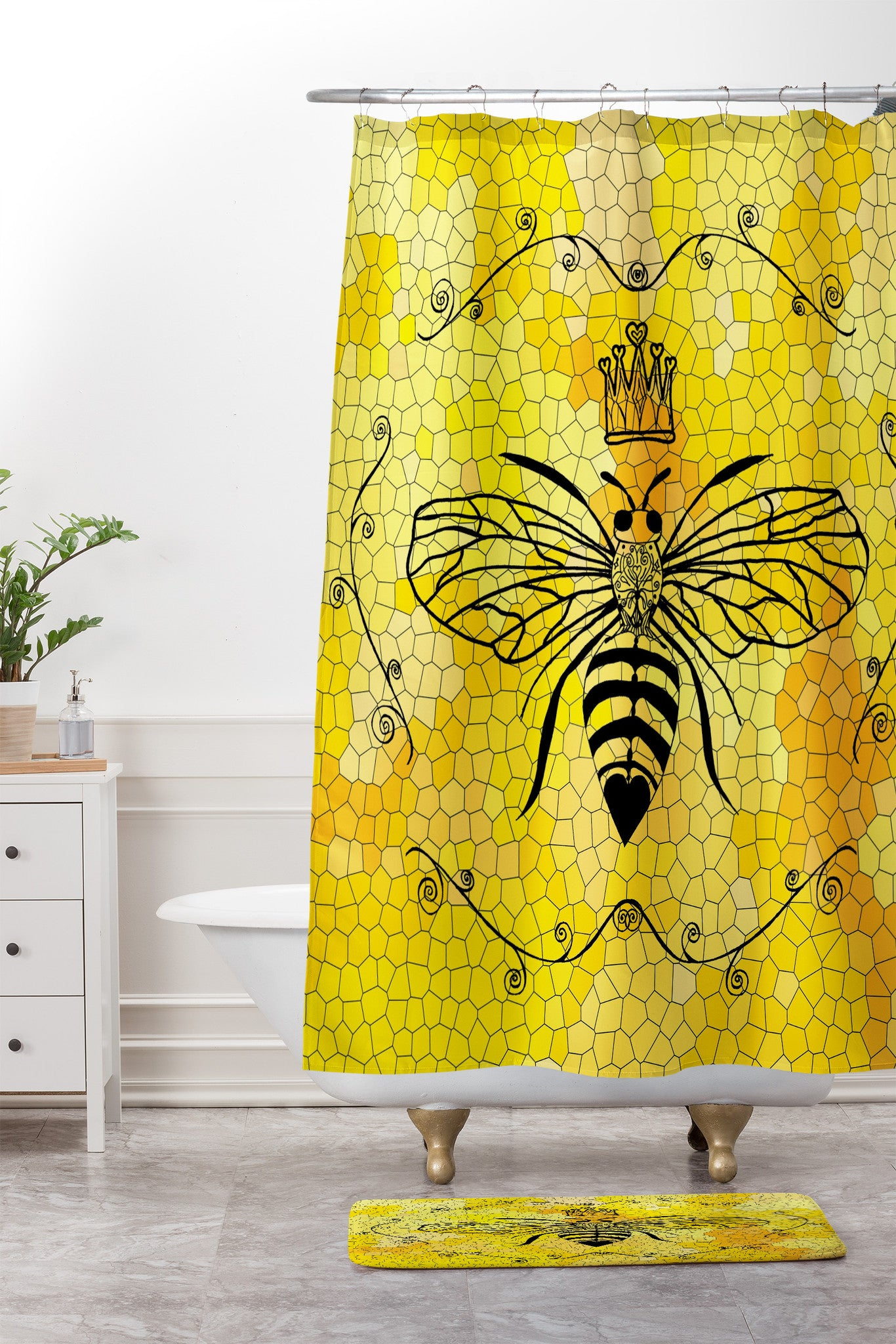 Queen Bee Shower Curtain And Mat By Lisa Argyropoulos